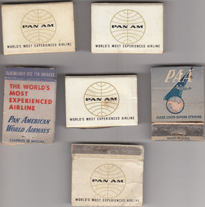 PAN AM Pan American set of 6 Match Boxes