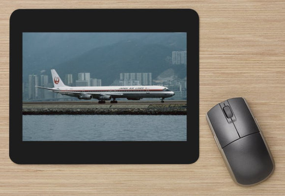 JAL Japan Air Lines Douglas DC8 at Kai Tak Hong Kong  - MOUSE MAT
