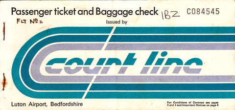 COURT LINE AVIATION BAC 111 PASSENGER TICKET (USED) LTN-IBZ-LTN