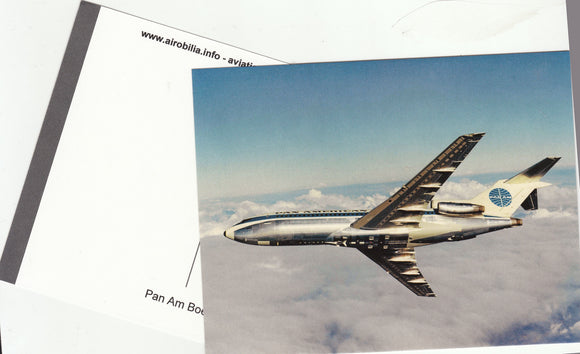 PAN AM Pan American Boeing 727 - 200 in flight Postcard