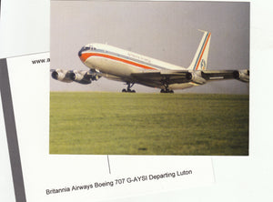 Britannia Airways Boeing 707 G-AYSI departing Luton Postcard