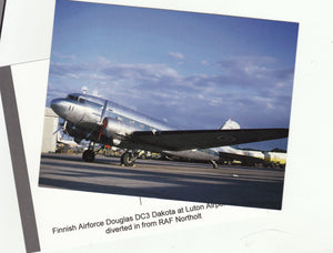 Finnish Air Force Douglas DC3 Dakota D0-11 at  Luton Postcard