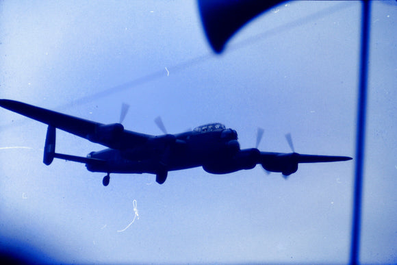 RAF Avro Lancaster in flight 1960  - ORIGINAL SLIDE