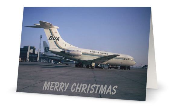 BUA BRITISH UNITED AIRWAYS VICKERS VC10 G-ASIX  CHRISTMAS CARD - LIMITED EDITION