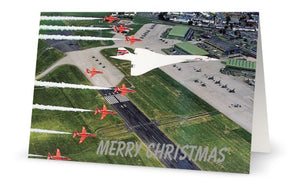 BRITISH AIRWAYS CONCORDE / RED ARROWS CHRISTMAS CARD - LIMITED EDITION