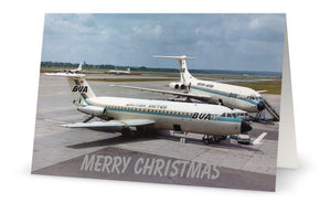 BUA BRITISH UNITED AIRWAYS BAC 111 and VC10 CHRISTMAS CARD - LIMITED EDITION