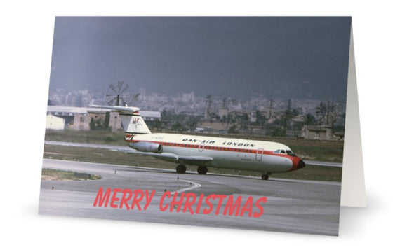 DAN AIR BAC 111 PALMA AIRPORT CHRISTMAS CARD - LIMITED EDITION