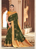 Mehendi Green Silk Motif Chain Work Embroidered Saree with Heavy Blouse