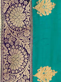 Firozi Blue Silk Embroiderd Saree with Jacquard Woven Pallu - VANYA