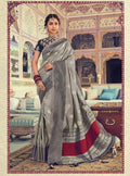 Lilac Grey  Silk Self Weave Broad Border Saree with Short Pallu - VANYA