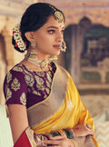Sunset Yellow Silk Self Weave Broad Border Saree with Short Pallu - VANYA