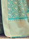 Sky Blue Silk Banarasi Saree with Self Textured Jari - VANYA