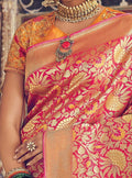 Fuchsia Pink Silk Floral Saree with Designer Mustard Yellow Blouse - VANYA