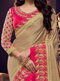Beige Embroidered Silk Saree with Rani Pink Blouse - VANYA
