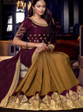 Wine Embroidered Silk Saree with Wine Blouse - VANYA