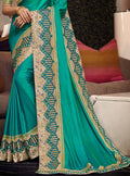 Green Embroidered Silk Saree with Navy Blue Blouse - VANYA