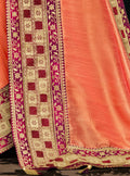 Peach Embroidered Silk Saree with Dark Red Blouse - VANYA