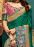 Green Embroidered Silk Saree with Pink Blouse - VANYA
