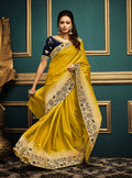 Yellow Embroidered Silk Saree with Navy Blue Blouse - VANYA