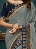 Grey Embroidered Silk Saree with Navy Blue Blouse - VANYA