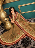 Beige Embroidered Silk Saree with Maroon Blouse - VANYA