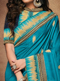 Blue Embroidered Silk Saree with Navy Blue Blouse - VANYA