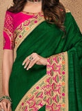 Green Embroidered Silk Saree with Rani Pink Blouse - VANYA