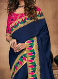 Navy Blue Embroidered Silk Saree with Rani Pink Blouse - VANYA