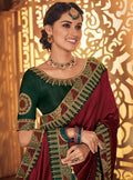 Maroon Embroidered Saree with Green Designer Embroidered Blouse - VANYA