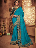 Blue Embroidered Saree with Navy Blue Designer Embroidered Blouse - VANYA