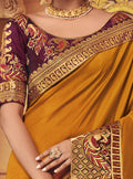 Orange Embroidered Saree with Purple Designer Embroidered Blouse - VANYA