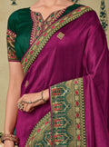 Purple Embroidered Saree with Green Designer Embroidered Blouse - VANYA