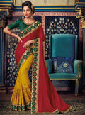 Red Embroidered Saree with Green Designer Embroidered Blouse - VANYA