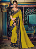 Yellow Embroidered Saree with Navy Blue Designer Embroidered Blouse - VANYA
