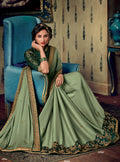 Green Embroidered Saree with Green Designer Woven Blouse - VANYA