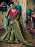 Multicolor Embroidered Saree with Rani Pink Designer Embroidered Blouse - VANYA