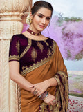 Vanya Zari Embroidered Women Woven Silk Saree Beige with Purple Embroidered Blouse Designer Saree - VANYA
