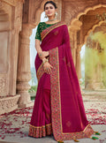 Vanya Stone Work Embroidered Women Woven Silk Saree Purple with Green Embroidered Blouse Designer Saree - VANYA