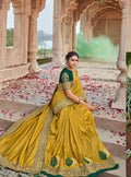Vanya Resham Embroidered Women Woven Silk Saree Yellow with Green Embroidered Blouse Designer Saree - VANYA
