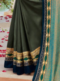 Vanya Zari Embroidered Women Woven Silk Saree Green with Green Embroidered Blouse Designer Saree - VANYA