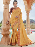 Vanya Stone Work Embroidered Women Woven Silk Saree Yellow with Maroon Embroidered Blouse Designer Saree - VANYA