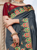 Vanya Stone Work Embroidered Women Woven Silk Saree Grey with Maroon Embroidered Blouse Designer Saree - VANYA