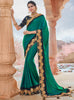 Vanya Zari Embroidered Women Woven Silk Saree Dark Green with Dark Blue Embroidered Blouse Designer Saree