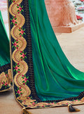 Vanya Zari Embroidered Women Woven Silk Saree Dark Green with Dark Blue Embroidered Blouse Designer Saree - VANYA