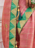 Pastel Pink Cotton Linen Saree with Minty Green Blouse - VANYA