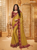 Mustard Brown Silk Saree with Maroon Blouse - VANYA