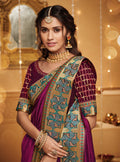 Vanya Resham Embroidered Purple Silk Saree with Purple Embroidered Blouse Designer Saree - VANYA