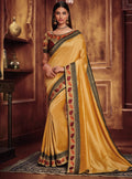Vanya Resham Embroidered Yellow Silk Saree with Maroon Embroidered Blouse Designer Saree - VANYA