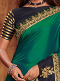 Dark Teal  Silk Saree with Blue Blouse - VANYA