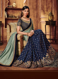 Vanya Zari Embroidered Dark Blue Silk Saree with Dark Blue Embroidered Blouse Designer Saree - VANYA
